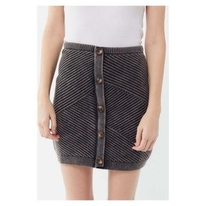 UO Chunky Knit Button-Front Mini Skirt